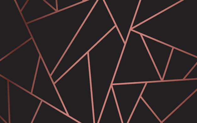ローズゴールドとブラックのモダンモザイク壁紙