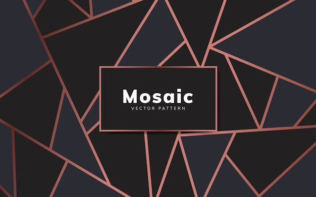 Modern mosaic wallpaper in rose gold and black