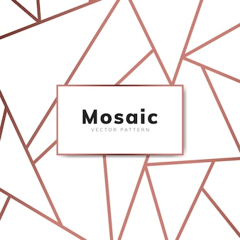 Modern mosaic wallpaper in rose gold and white