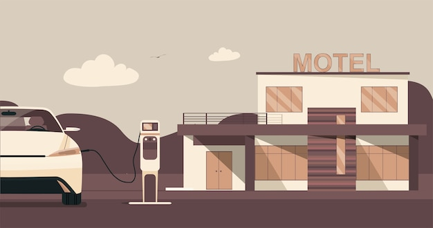 電気自動車の駐車場と充電ステーションを備えたモダンなモーテル。フラットスタイルのイラスト。