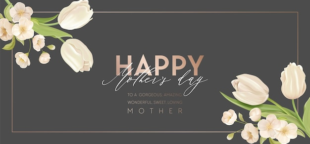 Modern mother day holiday banner. spring floral vector illustration design. advertisement realistic tulip and cherry flowers template. flower summer background, mom party promo, cover for mothers