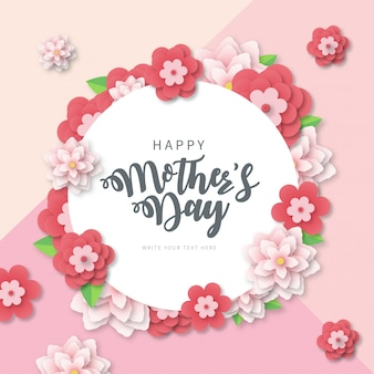 Modern mother's day banner with papercut flowers