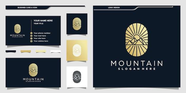 황금 그라디언트 색상과 명함이 있는 현대적인 산 로고 디자인 프리미엄 벡터