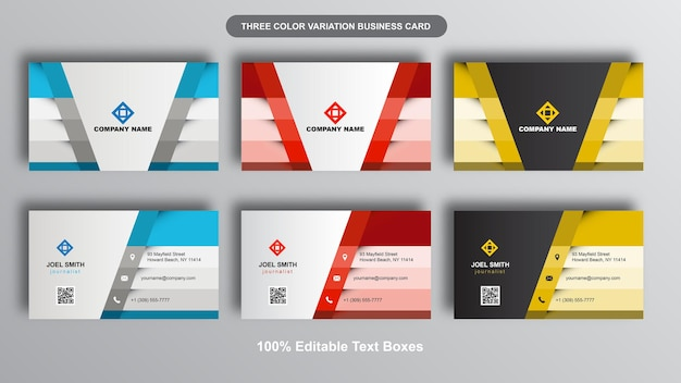 Modern multi purpose business card set