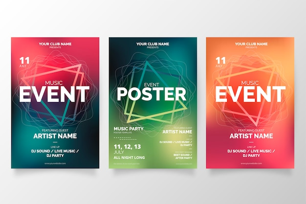 Modern music event poster collection