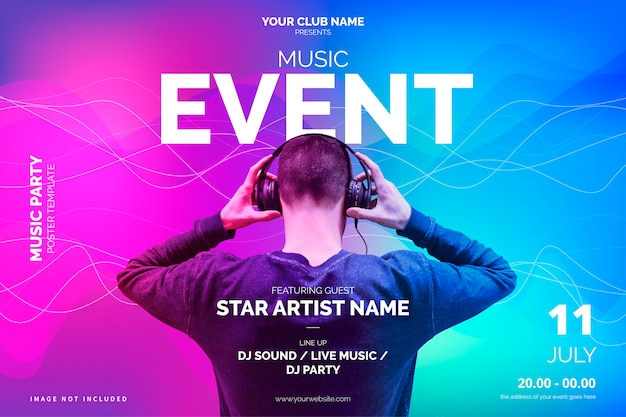 Modern music event poster template