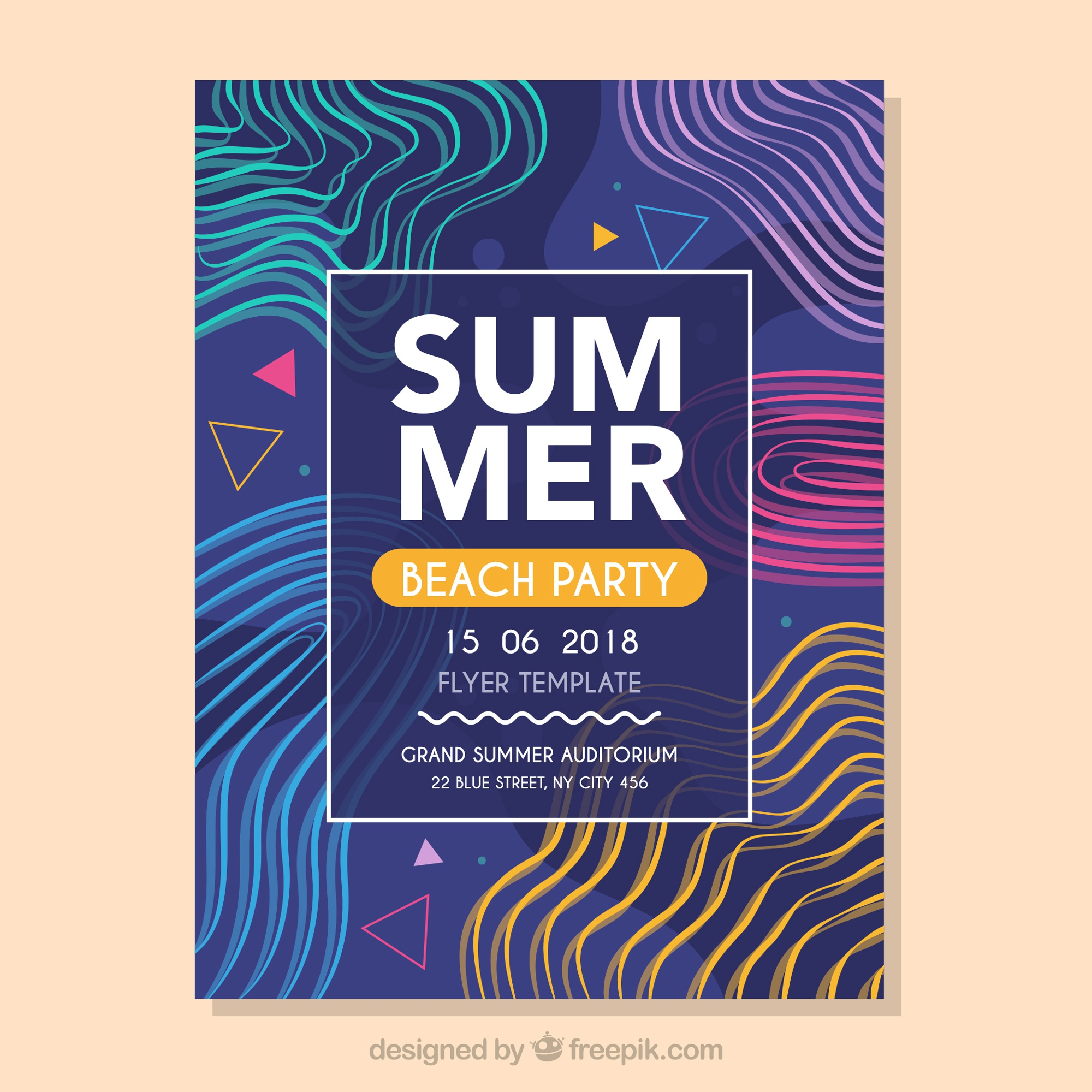 Modern music fest flyer template with abstract shapes