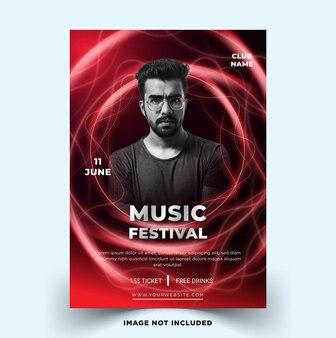 Шаблон плаката фестиваля современной музыки с векторным шаблоном электро концепции