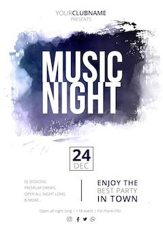 Manifesto di notte di musica moderna con spruzzata astratta