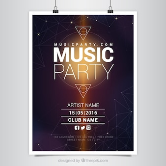 Modern music party poster with geometric shapes