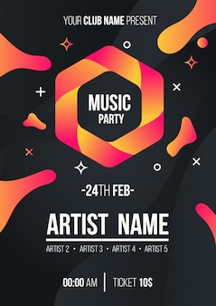 Modern music party poster