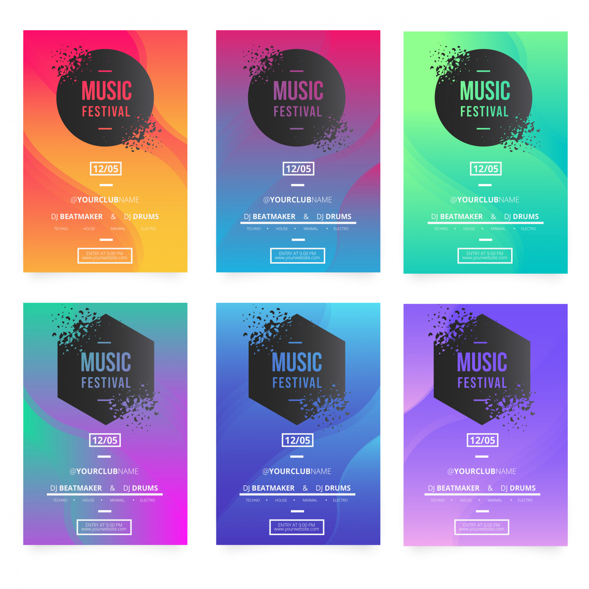 Modern music poster templates with broken banners