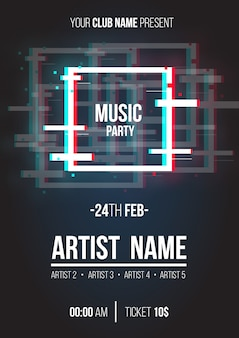 Modern music poster with glitch geometric shapes