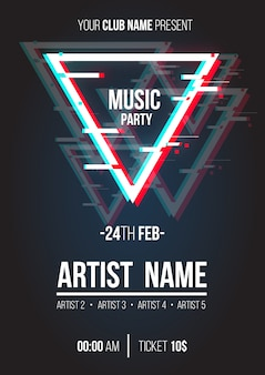 Modern music poster with glitch triangle