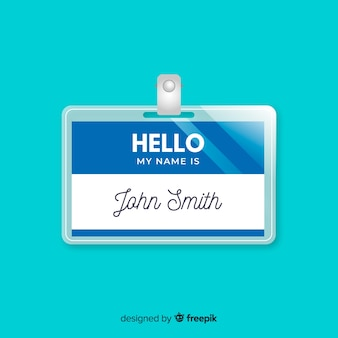 Modern name tag template with realistic design