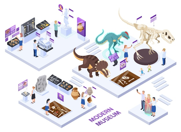 Modern natural history museum halls isometric set with dinosaur fossils