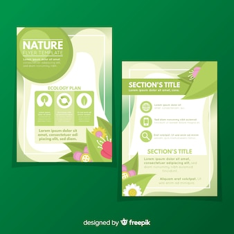 Modern nature flyer template with flat design