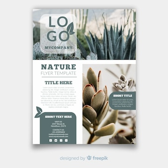 Modern nature flyer template with photo