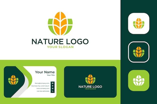 現代の自然のロゴデザインと名刺
