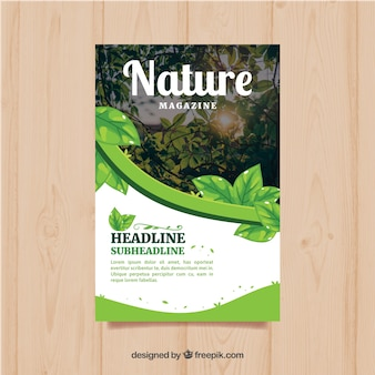 Modern nature magazine cover template with photo