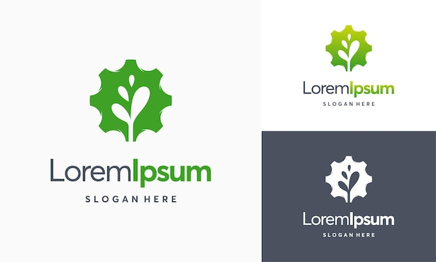Modern nature technology logo, leaf and gear machine vector, agriculture logo template icon, green eco tech logo template design vector, nature industry