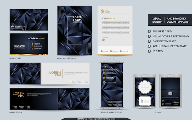 Modern navy blue polygonal stationery mock up set and visual brand identity with abstract overlap layers