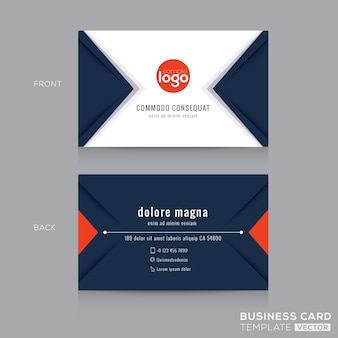 Modern navy blue triangle business card