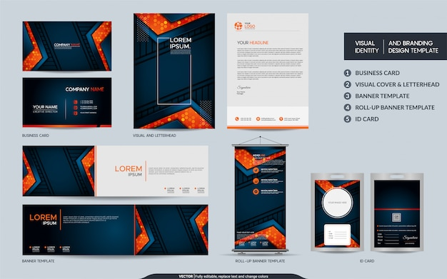 Modern navy stationery and visual brand identity set.