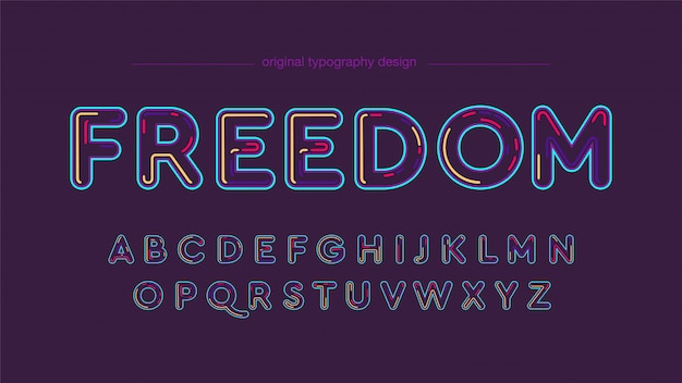 Modern neon colorful typography design