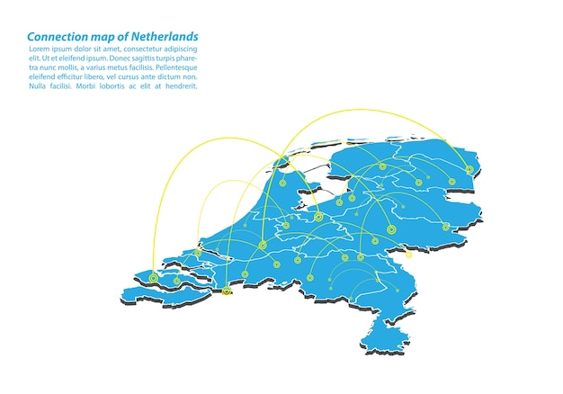 Modern of netherlands map connections network design