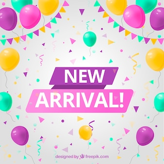 Modern new arrival background with confetti elements