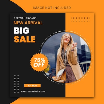 Modern new arrival fashion big sale, social media post template and website banner design