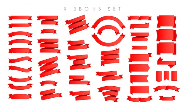 Modern new gradient red ribbons isolated