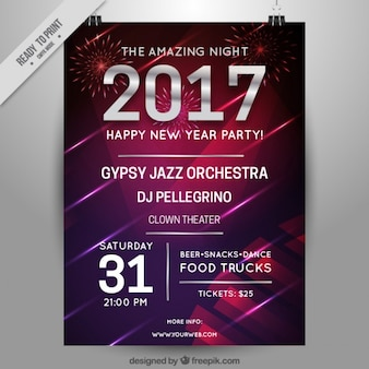 Modern new year 2017 party brochure
