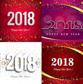 Modern new year 2018 background set