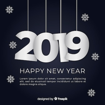 Modern new year 2019 composition with flat design