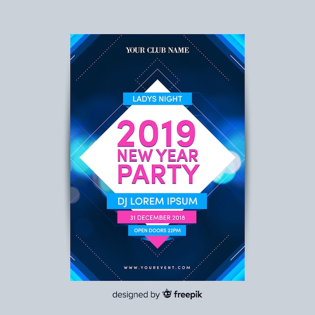Free Modern New Year Party Poster Template With Flat Design Svg Dxf Eps Png 49ers Cut File Etsy