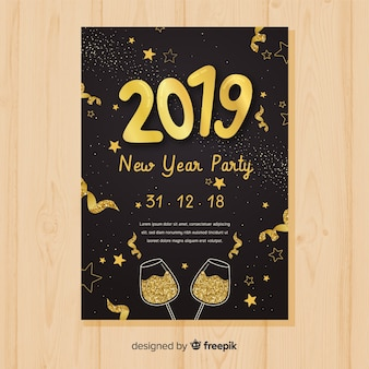 Modern new year party poster template with flat design