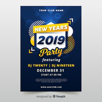 Modern new year party poster with abstract design