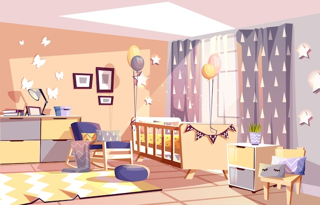 Modern newborn kid or nursery room interior illustration of bedroom furniture