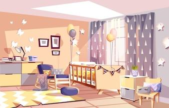 Modern newborn kid or nursery room interior illustration of bedroom furniture