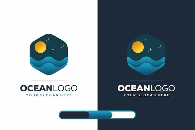 Современный дизайн логотипа океана