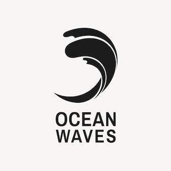 Modello moderno di logo dell'oceano, illustrazione semplice dell'acqua per il vettore di affari
