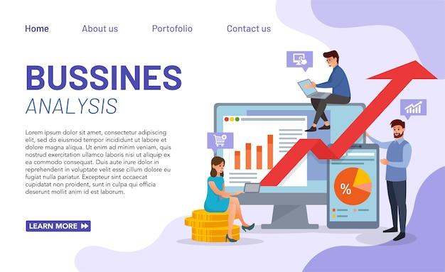 Webサイトおよびモバイルwebサイト開発のための最新のビジネス分析概念。完璧なグラフィックとビジネス分析のイラスト