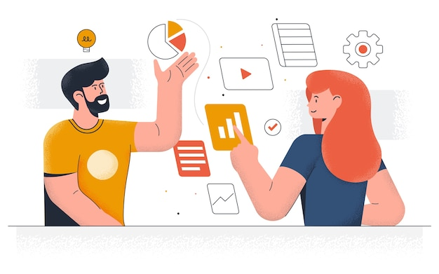 Современность управления рабочим процессом. молодой мужчина и женщина работают вместе над проектом. офисная работа и тайм-менеджмент. легко редактировать и настраивать. иллюстрация