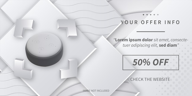 Modern offer info sale with abstract 3d background