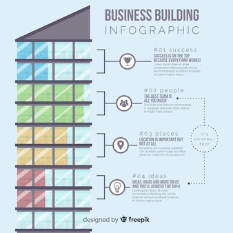 Modern office building infographic with flat design