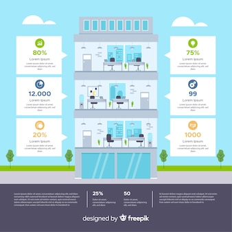 Modern office building with infographic style