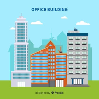 Modern office buildings composition with flat design