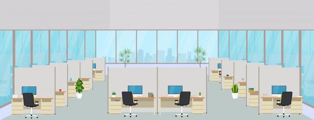 Современный офисный центр с рабочими местами. пустое рабочее место для коворкинга, дизайн бизнес-комнаты с большими окнами, мебель в интерьере, рабочие столы и стулья, компьютерная техника.